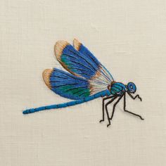 Dragonfly Blue<br>Hand Towel - Ivory Linen