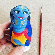 Namaste   Krishna Govinda looking joyful I think as he dances and swirls on this matryoshka doll  Set of three- Krsna Radha lalita  Set will be available on etsy once painted. Still working on a high gloss coat. #jaishreeradhakrishna #Radha #krsna #kirtan #krishna #krishnatoy #matryoshka #matryoshkadoll #painting #art #craft #dhoti #turban #murti #deity #gopidolls #shanti #govinda #india #namaste #yoga #love #hindu