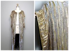 VTG Long Sequined Cloak / Kimono Sleeve Iridescent Gold Beaded Sequin Embellished Silk Chiffon Duster Jacket O/S by braxae on Etsy