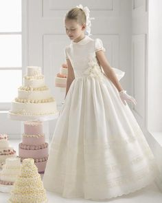 $119.99 Lace Appliques Flower Girl Dress with flowers and bow First Communion Dress White