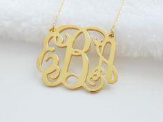 1 3/4 inch Monogram Necklace ,Personalized Monogram 3 Initials Necklace,Monogram Initials Jewelry,Nameplate Necklace,Christmas Gift Idea
