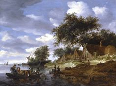 The Athenaeum - A River Landscape with Figures Crossing to the Shore on a Cattle Ferry (Salomon van Ruysdael - )
