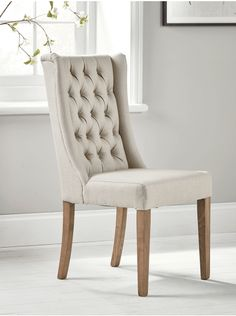 NEW Two Buttoned Linen Dining Chairs - Luxury Chairs - Luxury Seating - Luxury Home Furniture