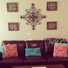 Roommate monograms on wood. Perfect for college apartment or dorm. #woodenmonograms