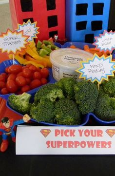 Superheroes Birthday Party food! See more party planning ideas at CatchMyParty.com!