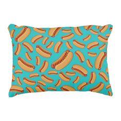 Turquoise hotdogs decorative pillow