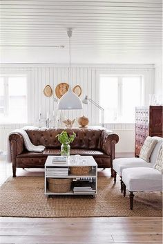 my scandinavian home: A beautifully renovated Swedish farmhouse. That brown leather couch. My Living Room, Home And Living, Living Room Decor, Decor Room, Living Spaces, Home Decor, Cozy Living, Coastal Living, Simple Living