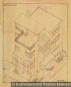 Huib Hoste, de belangrijkste Vlaamse vertegenwoordiger van het modernisme in België. Ontwerp woning Haegens, Stationsstraat in Zele (1931). photo credit: Architectuurarchief Provincie Antwerpen, found on the website: http://www.debalansvanbraem.be