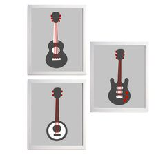 Art Guitar Music Banjo Grey Red Boy Kids Room set of 3 wall art prints each 11x14