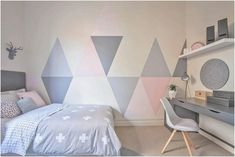 Bedroom design ideas for girls if looking for unique girls bedroom ideas consider painting triangles onto . bedroom design ideas for girls