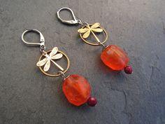 boucles d'oreilles pierres naturelle cornaline , libellules , attaches acier : Boucles d'oreille par lilicat