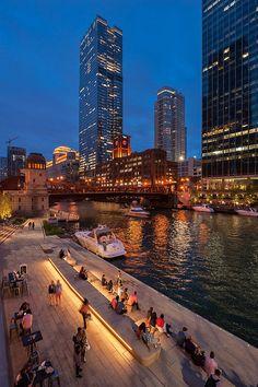 Sasaki and Ross Barney Architects complete Chicago Riverwalk #landscape #architecture #design #night #lighting #LED