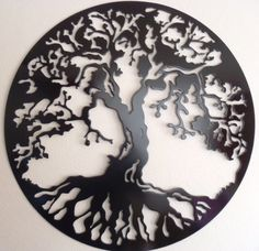 Tree Of Life, Wall decor, Metal Art   This is a plasma cut metal art. Cut out from 16 gauge steel (1.5 mm).  It measures 18.5 in diameter (47 cm).