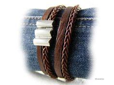 Men's braided leather bracelet distressed brown by elfenstuebchen