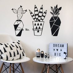 promo geometric cactus wall stickers home decor living room creative plant wall decoration removable #modern #wall #decals