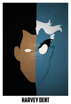 Two-Face Minimalist Comic Book Portrait by Artist Andres Romero