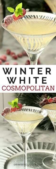 Need the Winter White Cosmopolitan In Your Life White Cranberry Juice transforms this Sex and The City Classic into the perfect winter !White Cranberry Juice transforms this Sex and The City Classic into the perfect winter ! Party Drinks, Cocktail Drinks, Fun Drinks, Yummy Drinks, Cocktail Recipes, Beverages, Margarita Recipes, Cocktail Ideas, Cocktail Parties