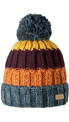 Kids multi-color rib knit Beanie with pom pom Baby Hats Knitting, Knitting For Kids, Loom Knitting, Knitting Patterns Free, Knit Patterns, Free Knitting, Knitting Projects, Crochet Projects, Knitted Hats