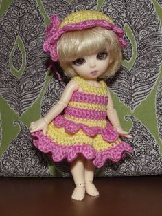 Crochet dress and hat for Bjd Fairyland Pukifee or от ilabre, $13.00