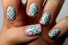PackAPunchPolish: Square Geometric Print Nail Art Inspired by Clothing From Deb Shops