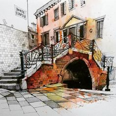 This has to be Ian Fennelly. Pen And Watercolor, Watercolor Landscape, Watercolor Paintings, Watercolours, Building Painting, Building Art, Watercolor Architecture, Architecture Drawings, Venice Painting