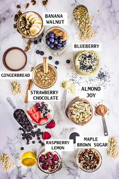Overnight Oats - 8 Ways - simple no-cook make-ahead oatmeal just perfect for busy mornings. Best of all, easy to customize with your favorite flavors. Almond Joy, banana walnut, blueberry, maple brown sugar, matcha, raspberry lemon and strawberry chocolate.