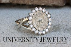 Baylor University Seal Ring #245 HT in white gold. Made by University Jewelry at San Jose Jewelers in Waco, Texas. #bayloruniversity #sealrings #class #rings #universityjewelry #universityrings #waco #baylorbears #sicem #baylorring #baylorclassring #sanjose #baylor #baylorbears #womensring