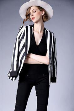 Doresuwe.com SUPPLIES 欧米セレブ愛用新品 2015秋ファッション ハイエンド大物ストライプ 着やせ スーツコート スーツ (2)