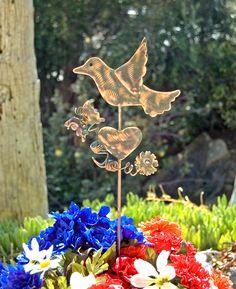 Bird Metal Yard Art Garden Plant Stake, Copper Garden Art, Bird Ornament, Bird Sculpture, Outdoor Garden Art, Memorial, Wildlife Animal Art,