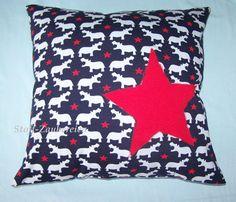 Kinder Kissen Kissenhülle Bezug Hippo Nilpferd Sterne handmade Applikation Stars