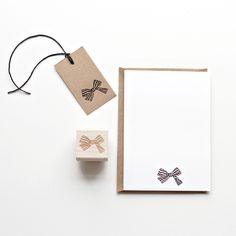 STRIPED BOW RUBBER STAMP via Besotted Brand