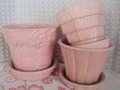 McCoy planters ~ love the pink color! Mccoy Pottery Vases, Hull Pottery, Roseville Pottery, Ceramic Pottery, Thrown Pottery, Slab Pottery, Ceramic Bowls, Ceramic Art, Vintage Love