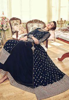 Riveting Blue Colored Butti Worked Stylish Gown - Fashionandstylish - The Fashion Studio Plazzo Suits, Stylish Gown, Riveting, Anarkali Suits, Designer Sarees, Fashion Studio, Wedding Wear, Bollywood Fashion, Jacket Style