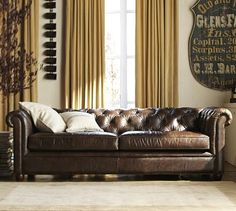 Chesterfield Leather Grand Sofa 96 Polyester Wred Cushions Burnished Walnut