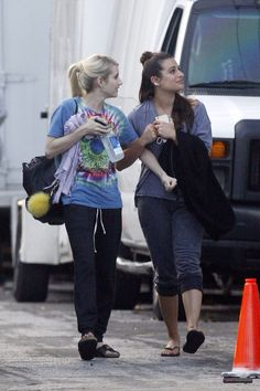 Lea Michele and Emma Roberts on the set of Scream Queens