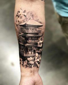Japanese temple with cherry blossoms pic done with Japanischer Tempel mit Kirschblüten pic erfolgt mit @ pro_t_ink… Tatuajes Irezumi, Irezumi Tattoos, Leg Tattoos, Body Art Tattoos, Tattoos For Guys, Geisha Tattoos, Japanese Temple Tattoo, Japanese Tattoo Art, Japanese Tattoo Designs