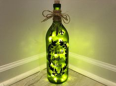 Table lamp 19 crimes wine bottle,with matching designer shade Upcycled