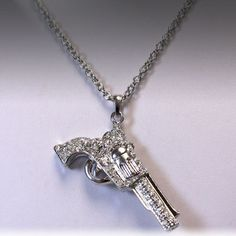 Cowgirl Rhinestone Pistol Necklace