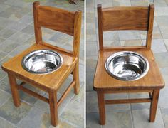 Chair from 1950's elementary school, upcycled and repurposed into dog's feeding bowl (paw print is stamped in bottom of bowl).