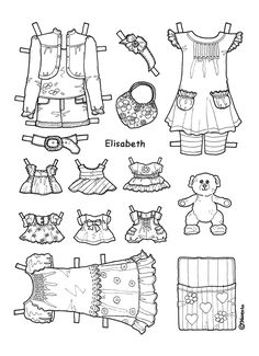Karen`s Paper Dolls: Elisabeth 1-4 Paper Doll to Print and Colour. Elisabeth 1-4…