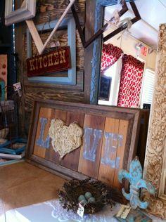 LOVE barn wood & burlap