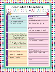 Free Printable Daily and Weekly Vacation Calendars - Free Printable Daily and W. - Free Printable Daily and Weekly Vacation Calendars – Free Printable Daily and Weekly Vacation Ca - Vacation Planner, Travel Planner, Vacation Trips, Disney Vacations, Templates Printable Free, Free Printables, Daily Printable, Schedule Templates, Early Education
