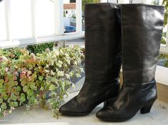 Black leather boots Oscar's little boots on boots heels bobo Parisian years  80 rock 80's eighties France size 35.5 / US 3 / UK 4.5