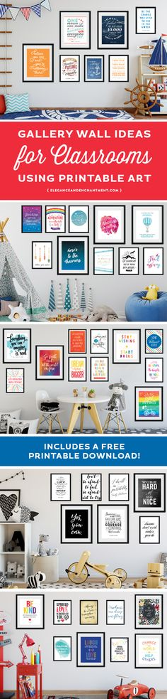 Five concepts/ideas for classroom gallery walls or bulletin board themes, using printable art. The collections featured include quotes from famous leaders and innovators, quotes about travel and adventure, quotes that inspire creativity, quotes about kind