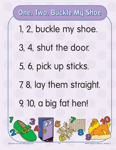 learning center activities for one two buckle my shoe bobbie wilson