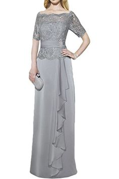 d058ce251cd Ivydressing A-line Short Sleeves Mother of the Bride Evening Dress Lace  Chiffon-2-Silver at Amazon Women s Clothing store