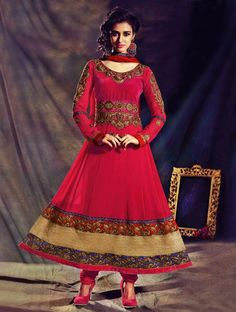 Stunning Red Zari Embroidered Long Anarkali Style Suit