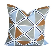 One Scott Living pillow cover, Navy Blue Grey Brown Pillow, decorative throw pillow,  HGTV pillow, accent pillow, Mid-Century pillow case by ThatDutchGirlHome on Etsy