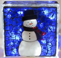Snowman mosaic glass block by muttmom3 on Etsy
