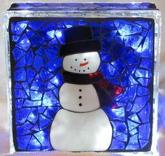 Snowman mosaic glass block